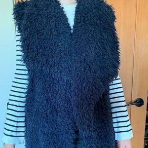 Navy fluffy vest